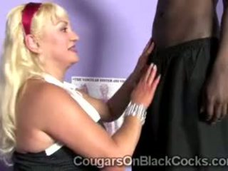 Mature Blonde Doctor Aids Black Athlete In Her Office