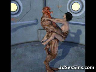 Creatures ファック 3d scifi 女の子!