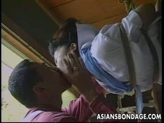 Sexy little Asian girl gets tied up and tease