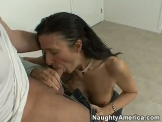 Scorching teacher Gina Rome slurping some hot cock in her mouth and loves it