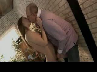 Juicy girl gets old man cock