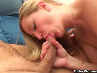 Mom cleans the kitchen and takes care of your cock