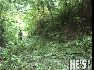 Watch These Two Hot Soldiers Get It On Out In The Jungle