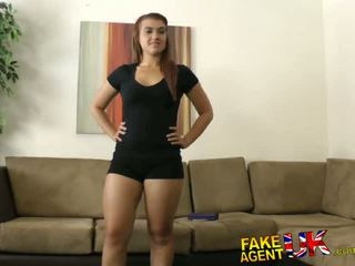 Fakeagentuk thick kelte gotak fucks and cums all over piss taking brunet