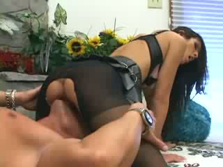 Shy Love fucking and footsex in ripped up pantyhose and a bra