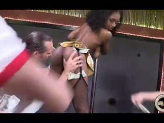 Sexy black stripper Jamie bukkake facial