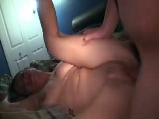 Fucking her hard on the bed