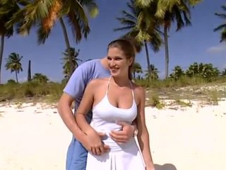 With cute Valentina Valli on the beach