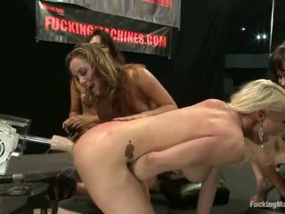 Four Alluring Pussys Play Sex Game Fucking Game Around A Few Bonking Machines In A Basement