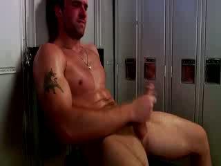Handsome muscular jock masturbation