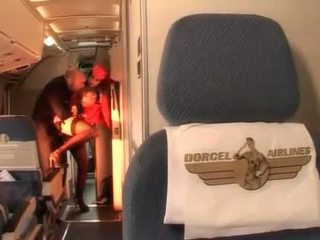 Hard anal with sexy stewardess in the pilots cabin