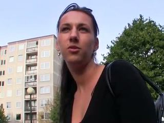 Euro hottie paid money for sex in public