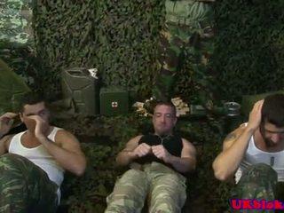 Brit army jock group sex with cum loads