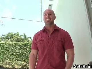 Muscular white stud sucks enormous black