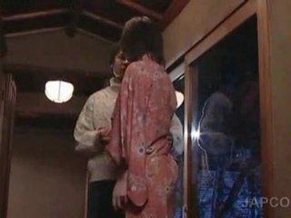 Sweet asian geisha getting tongue kissed and feet licke