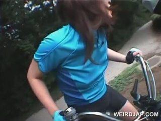 Teen Japanese Girls Dildo Fucked While Riding Bikes