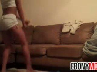 Ebony Teenager Dancing In Her Basement