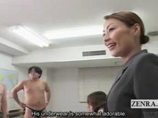 Subtitled ubrane kobiety i nadzy mężczyźni japońskie schoolgirls nagie sztuka klasa