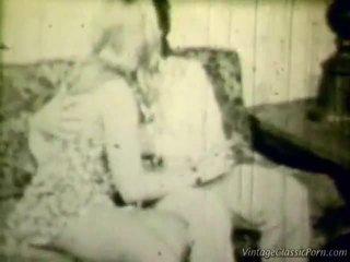Breasty blond retro shag