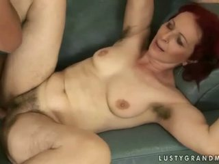 Hairy old redhead getting fucked