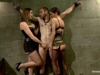 Oustanding meat vara dude dominated em dame dominação e pegging atuação por 3 nymphs