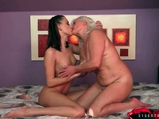 Grannies and Teenies kissing and licking compilation video