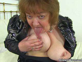 English Granny Susan Pleases Her Hungry Pussy with a.