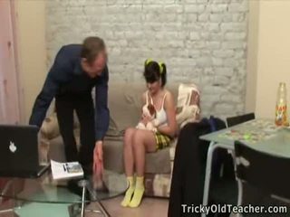 Horny Old Teacher Seducing The Teenage Virgin Chick.