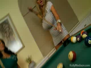 Hot babes fucked in the billiard room