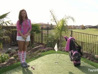 Gjoksmadhe vogëlushe taylor plays një sexy rreth i golf: falas porno 7e