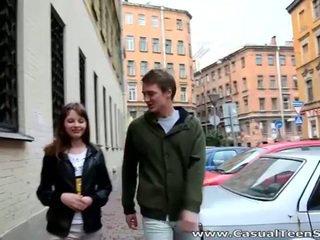 可愛 青少年 olesya picked 向上 和 鑽 硬