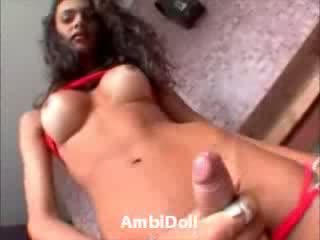 Hot Shemale Stripper Masturbates and Cums