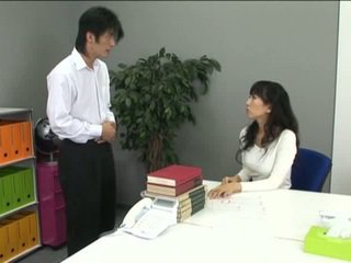 Asian office girl in pantyhose and her coworker