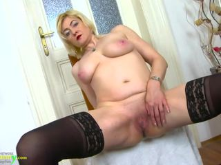 Oldnanny Horny Blonde Mature Evi Solo Pussy Toying: Porn 6b