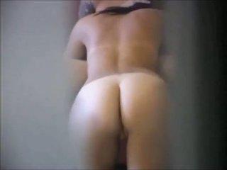 Brunette babe on real hidden cam