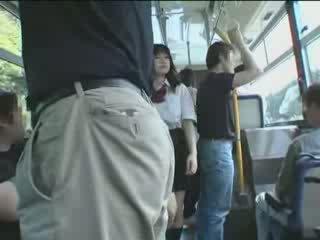 японски, ученичка, автобус
