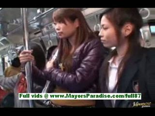 Sweet asian babe in the bus