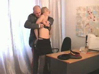flicka, ryska, officer