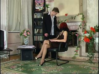 Russian Pantyhose Redhead Blowjob and Pantyhose Fuck.