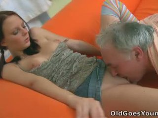 This Babe Manages To Service Her Boyfriends Python And The Cock Of An Aged Guy At The Same Time