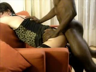 crossdresser, blowjob, interracial
