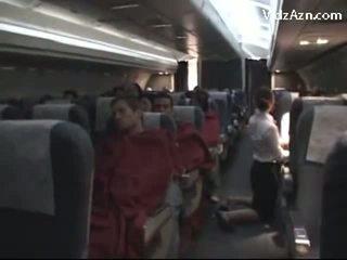 Flugbegleiterin abspritzen passenger & tasting seine schwanz