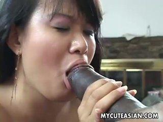 E zezë dude has një nxehtë aziatike zoçkë në shkatërrim