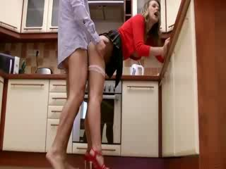 Sexy chick fucked in the kitchen by this very old guy