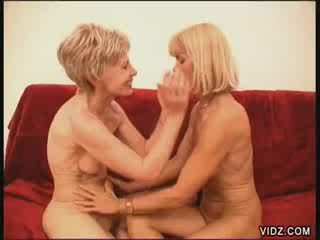 Two luscious blonde grannies fuck each other