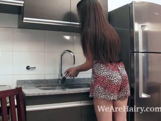 Virgin masturbates in the kitchen after a peach