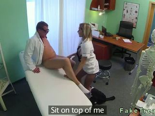 Hot nurse gets pussy licked and fucked by doctor