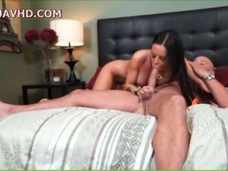 Raven haired milf impales herself on man meat