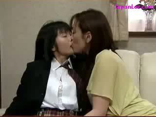 Schoolgirl Kissing Spitting With Mature Woman Fingered On The Couch